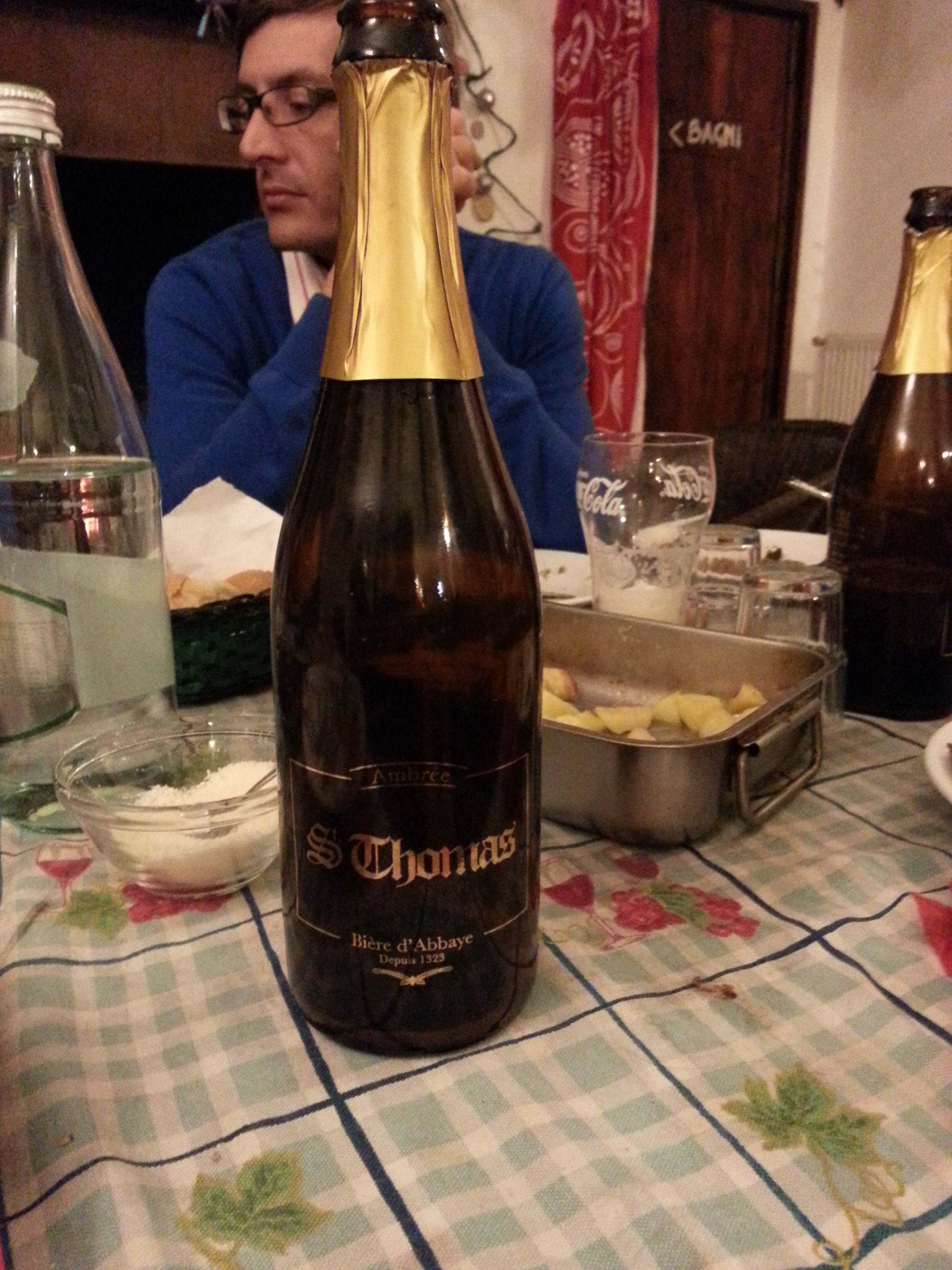 St. Thomas Beer from Belgium. You can find this in Rome. Very good beer!